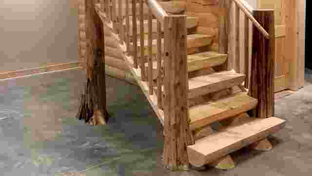 Milled Half Log Staircase with Flare Bottom Trees
