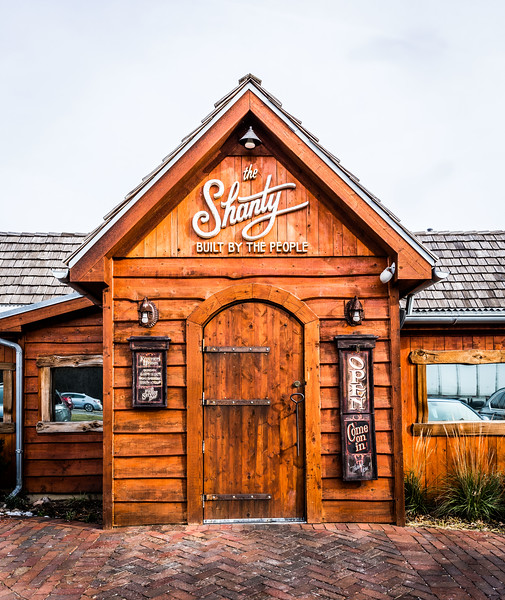 Front entrance of The Shanty restaurant featuring Wavy Edge Siding.