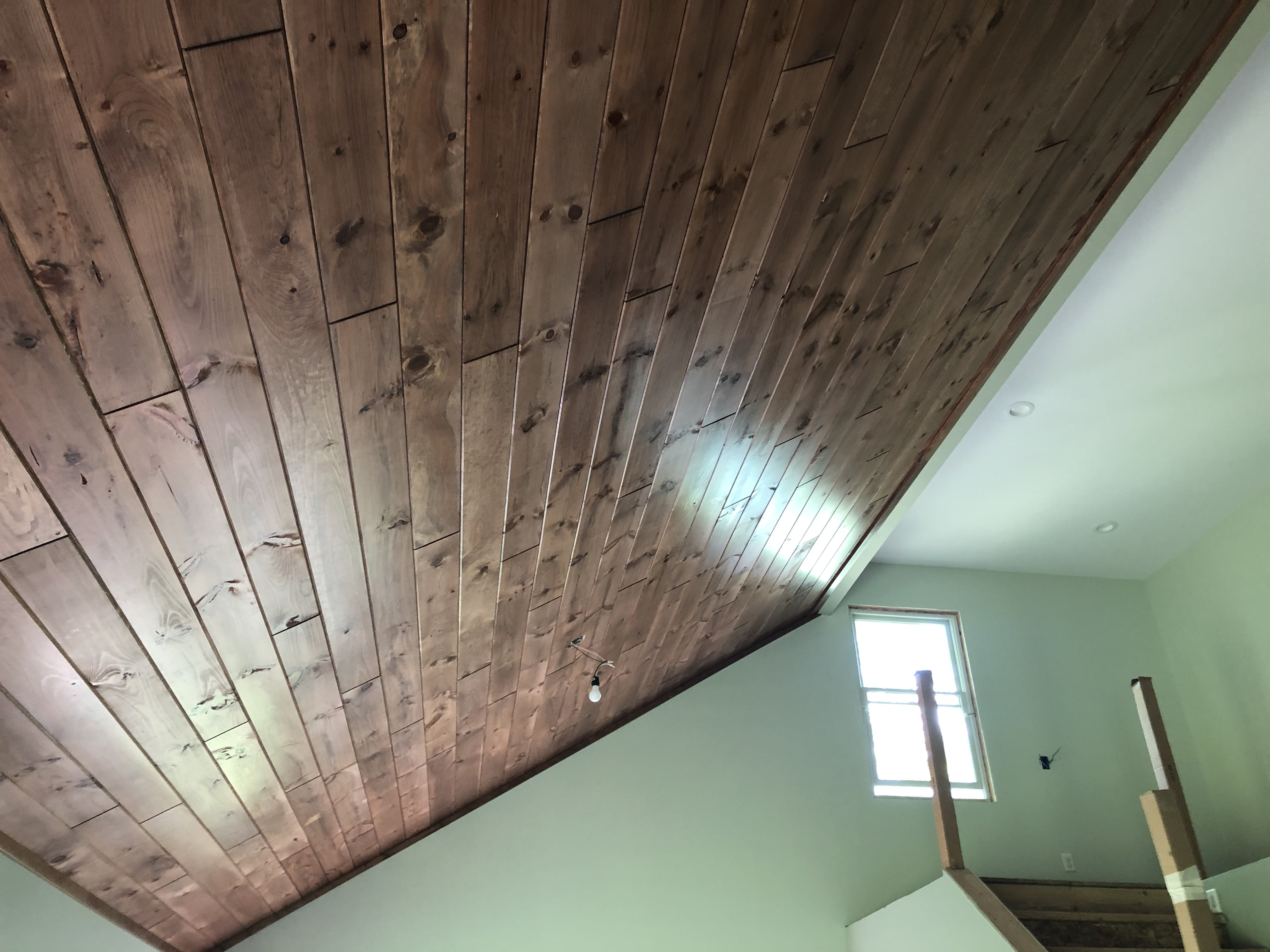 1X8 Pine Paneling in Gunstock with 1X4 Pine Trim