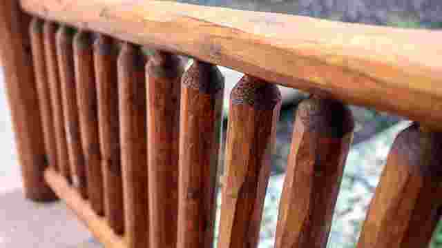 Classic Log Railing in Storm Teak